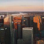 Sunset over Manhattan. Original Watercolour by Janet Kenyon