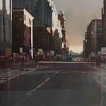 Autumn Shadows, Oxford Street, Manchester.  original Watercolour by Janet Kenyon