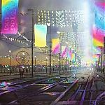 Painting by Janet Kenyon - Northern Lights, Blackpool