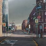 Storm clouds, Withy Grove, Manchester original watercolour by Janet Kenyon