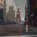 Urban light, Oxford Street, Manchester. by Janet Kenyon